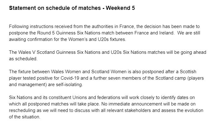 CORONAVIRUS: Another Six Nations match postponed