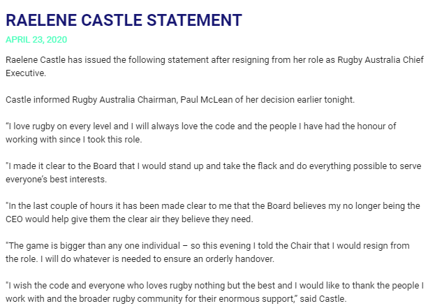 BREAKING: Castle resigns