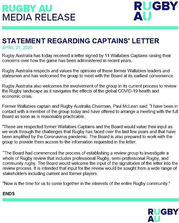 Rugby AU statement