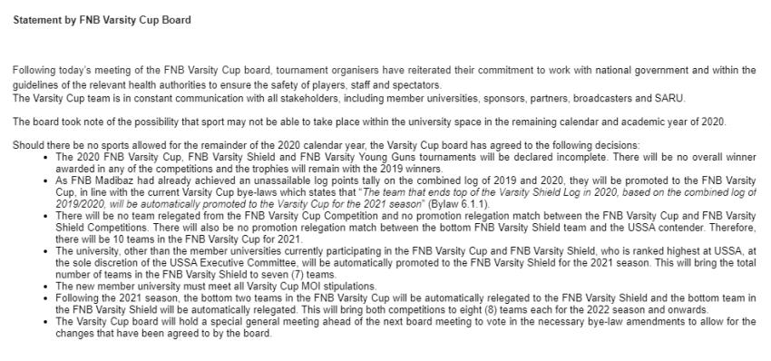 Varsity Cup update