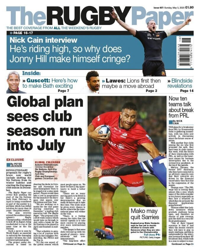 The Rugby Paper front page