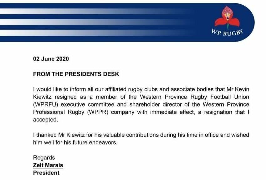 Kevin Kiewitz resignation