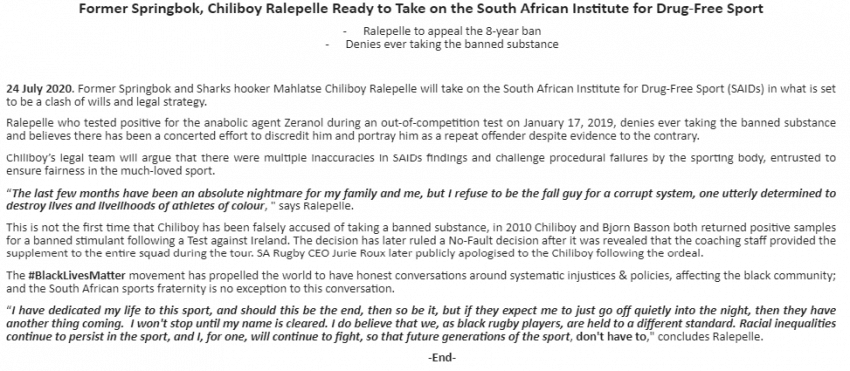 Huge accusations in the Ralepelle doping saga