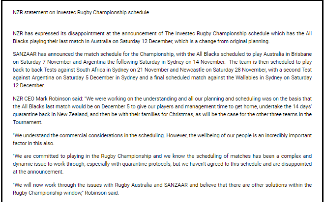 NZ statement on Rugby Championship schedule