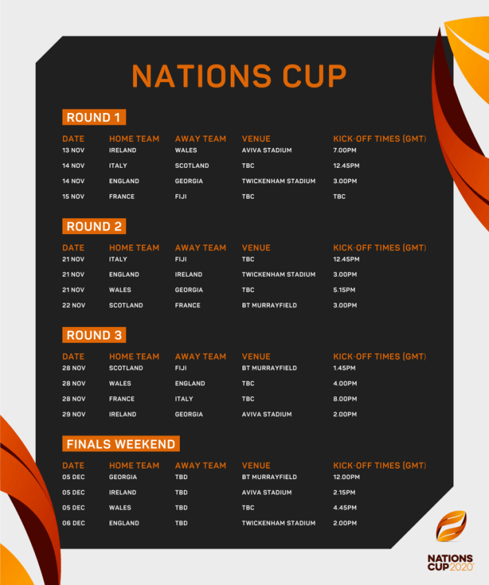 Nations Cup fixtures