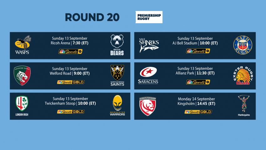 Premiership Round 20 fixtures