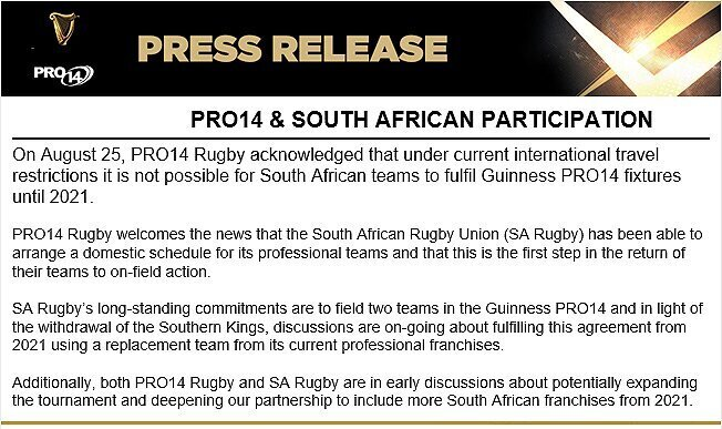 CONFIRMED: SA heading north