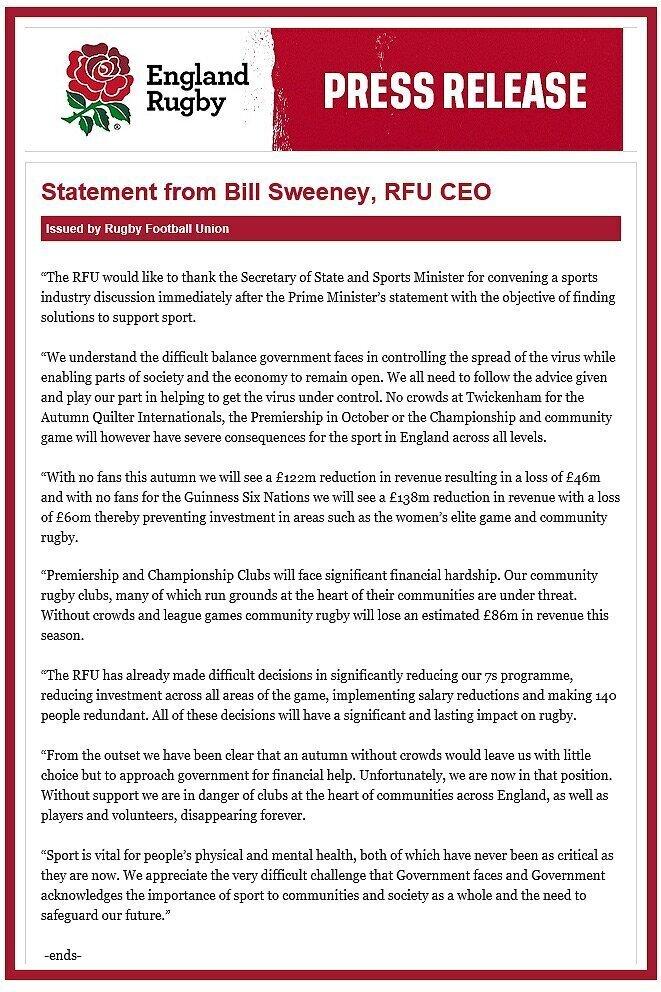 RFU statement