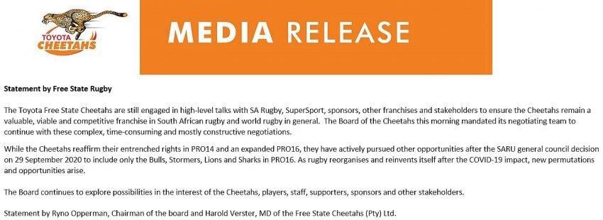 Cheetahs statement