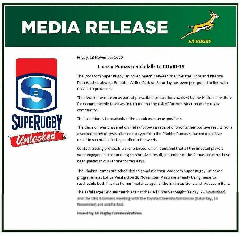 SA Rugby statement
