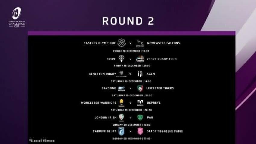 Callenge Cup fixtures