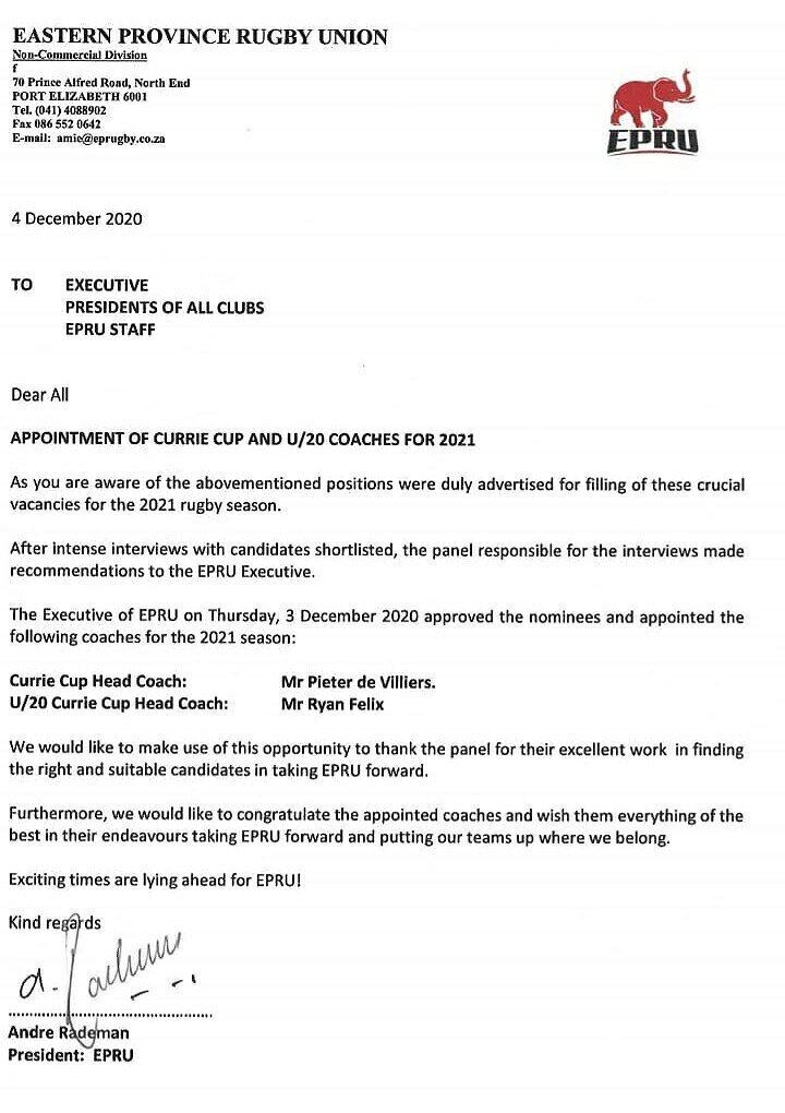 Peter de Villiers appointment