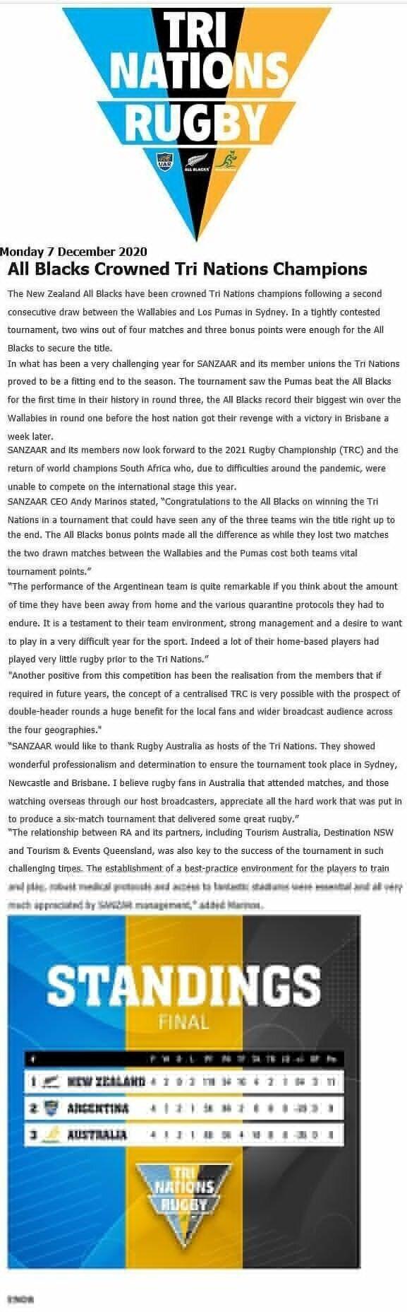 SANZAAR statement