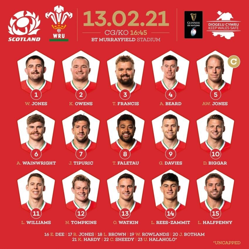 Wales team to face Scotland