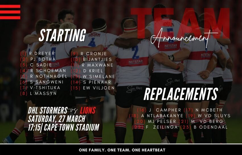 Lions team to face Stormers