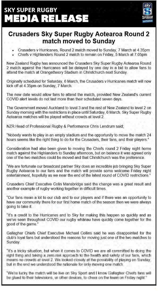 New Zealand Rugby statement
