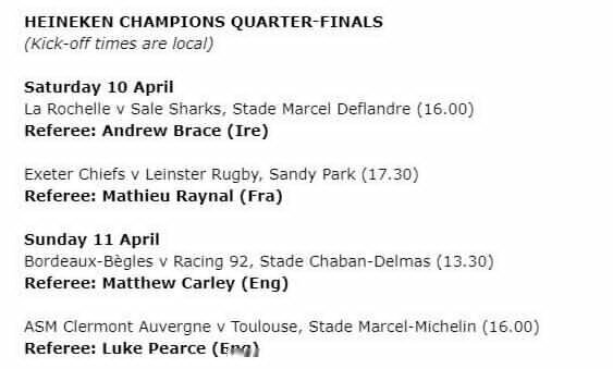 Confirmed: Champions and Challenge Cup quarter-final referees