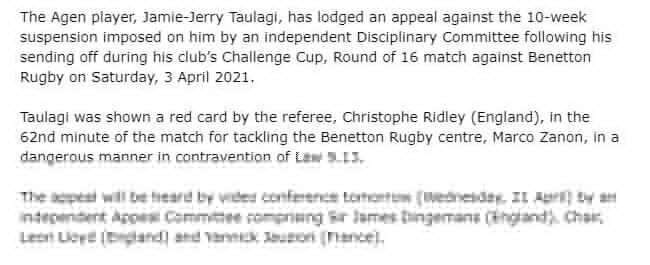 Taulagi to challenge 10-week ban