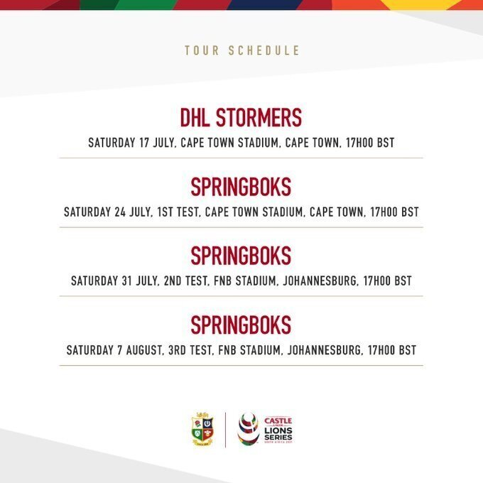 Revised B&I Lions tour schedule confirmed