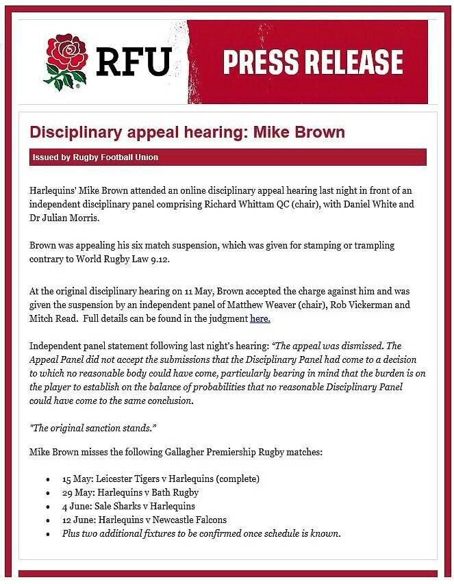 RFU-statement-on-Mike-Brown