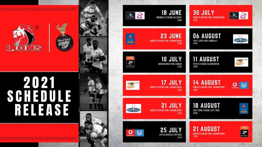 Lions Currie Cup fixtures