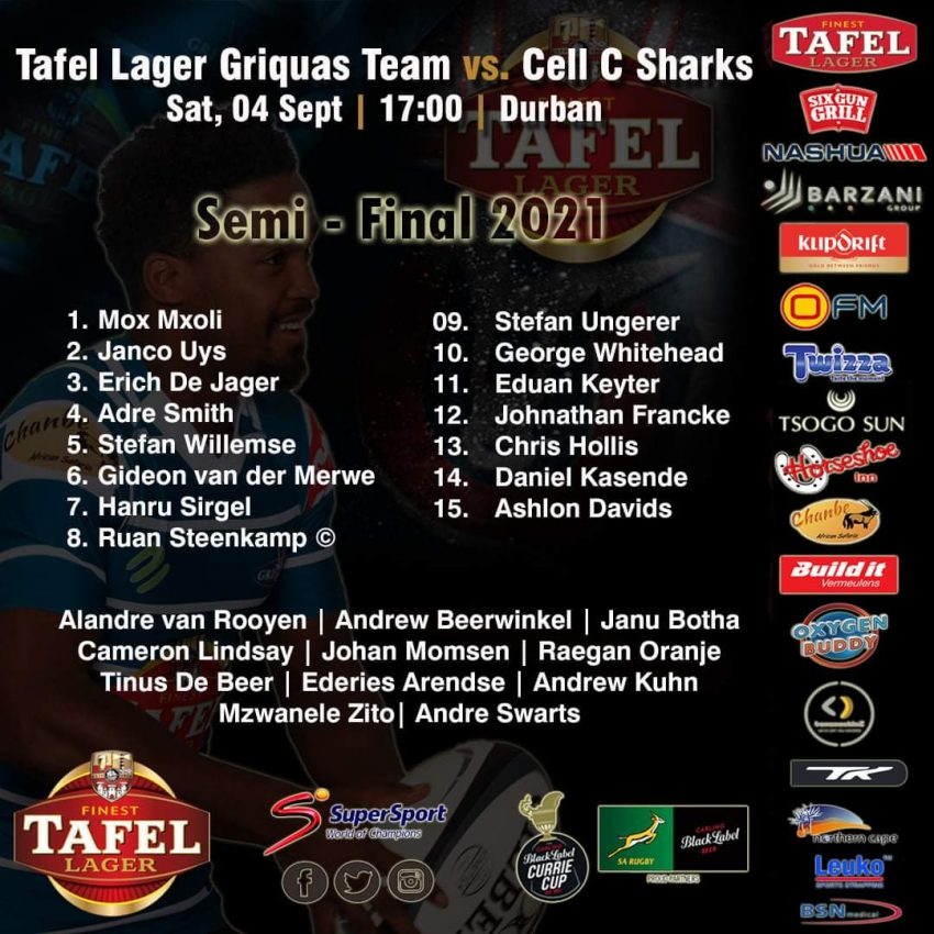 Griquas team to face Sharks