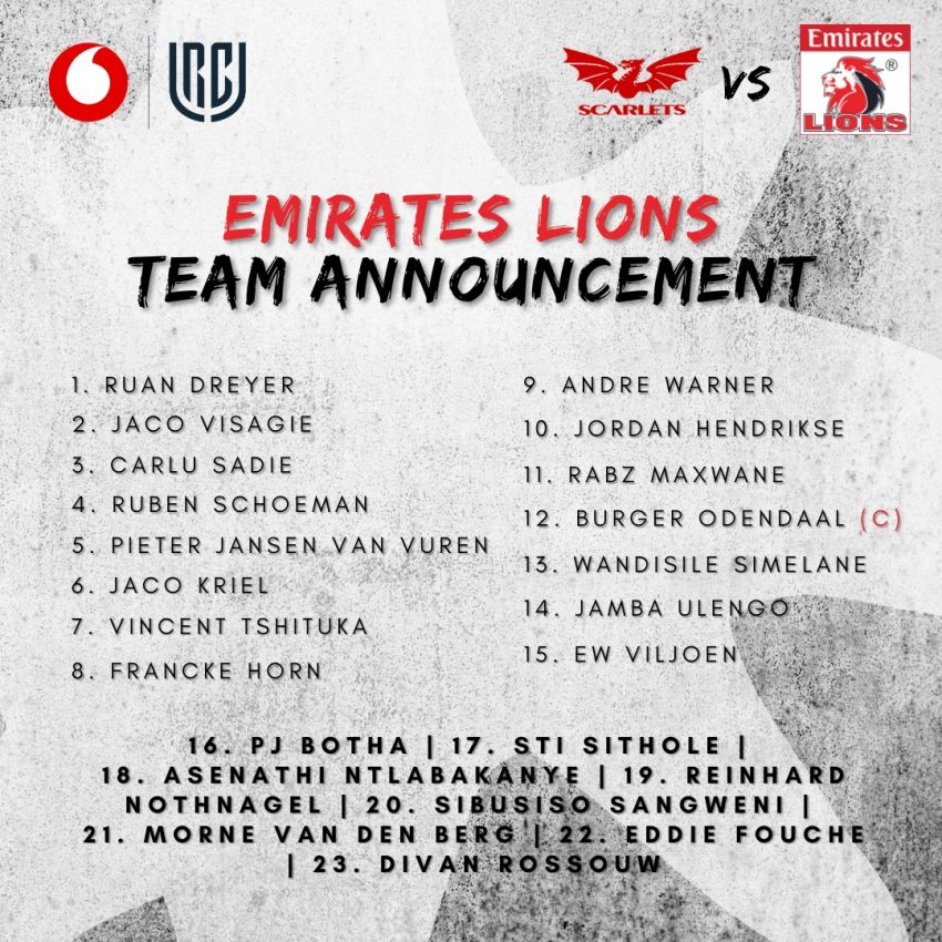 Lions team to face Scarlets