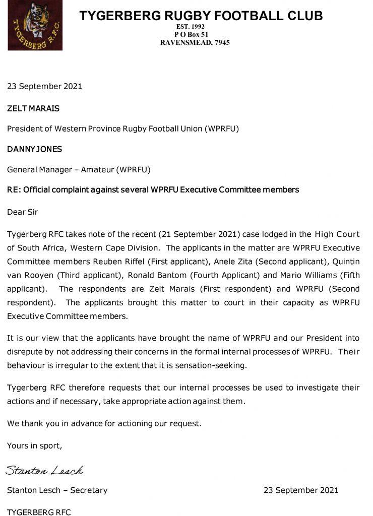 Tygerberg-RFC---Official-complaint-against-several-WPRFU-EXCO-members_23September2021signed