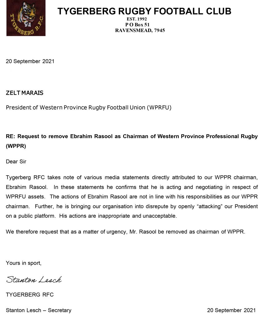 Tygerberg-RFC---Request-to-remove-Ebrahim-Rasool_20September2021