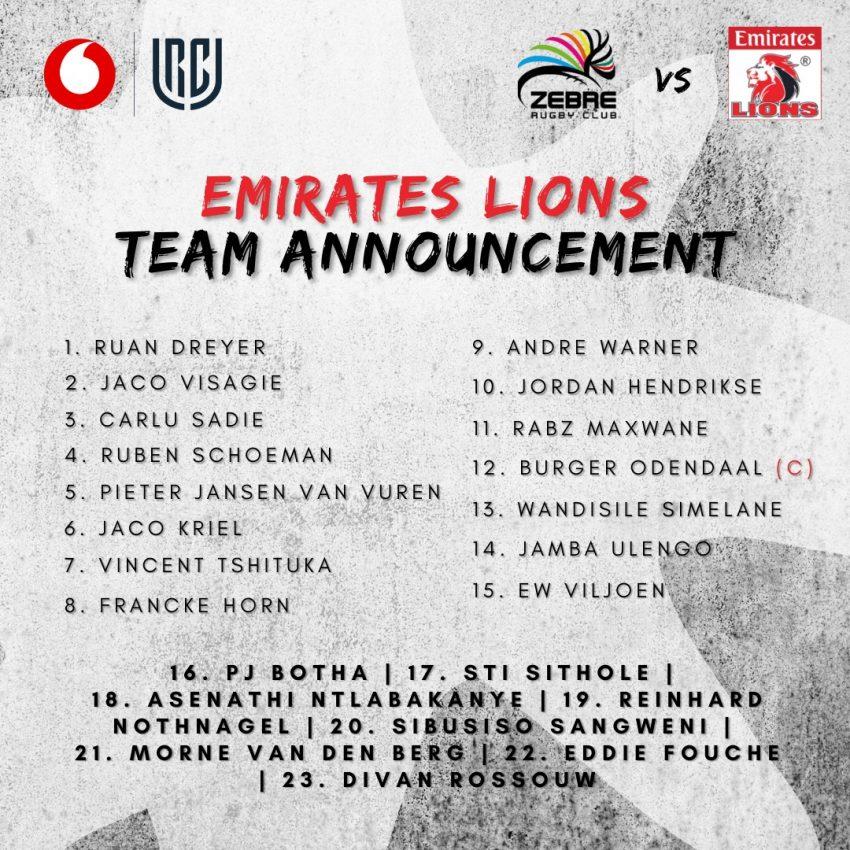 Lions team v Zebre 2021