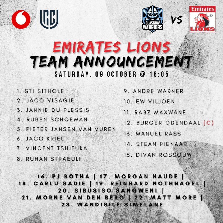 Lions team to face Glasgow
