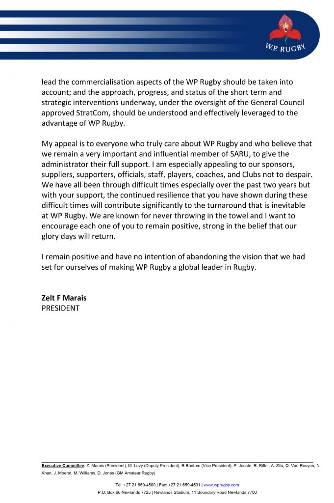 SARU's message for Dobbo and his Stormers